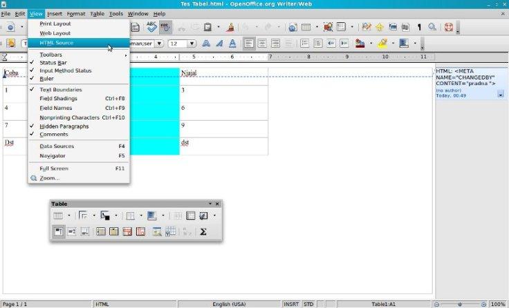 menyisipkan tabel di wordpress dengan openoffice word