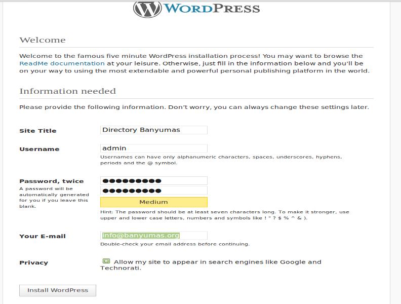 Install Wordpress di Ubuntu (3/3)