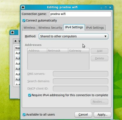 tab ipv4 wireless network connection Linux Mint