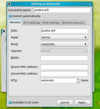 tab wireless connection linux mint