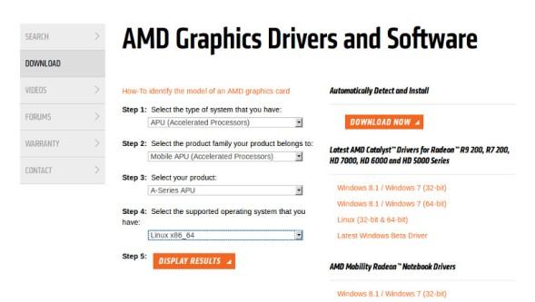 AMD Catalyst di AMD A6 ATI Radeon R4 di Linux Turunan Ubuntu