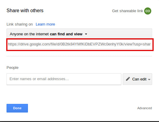 how to share a link for download to others