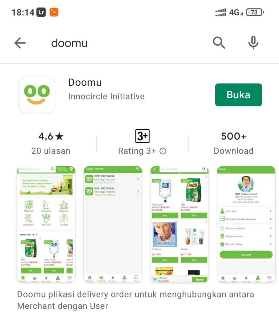 aplikasi delivery doomu dari purwokerto